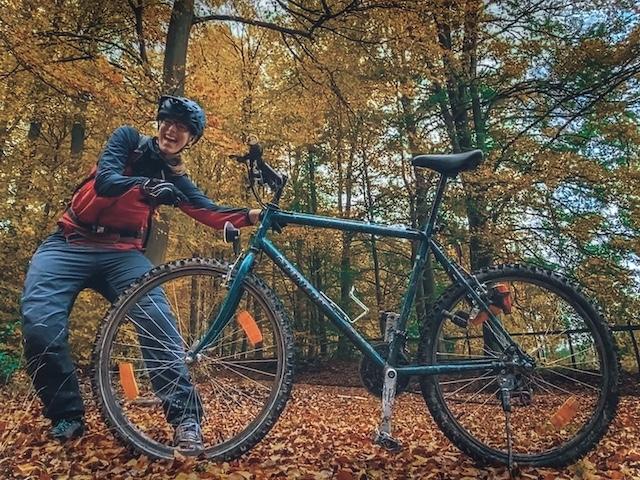 Mit dem Fahrrad einkaufen